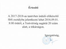 SbS jelentkezés 2017-2018